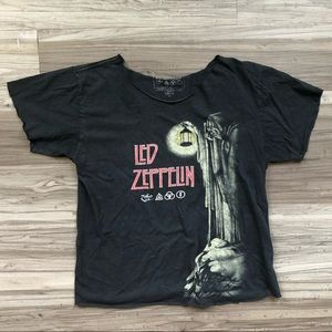 Led Zeppelin raw hem tee shirt